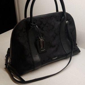 COACH NY. Black leather & denim purse